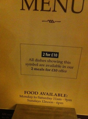 The Roebuck Tavern: Meal deal on the menu