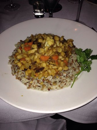 Porter's Steakhouse: Chef Pat's Mild Curry Veggie Creation over Pilaf - outstanding for a vegan!