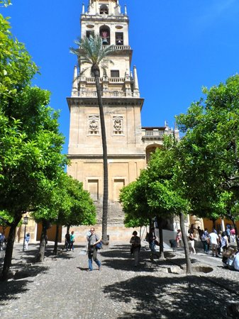 Mezquita Cathedral de Cordoba: The bell tower overlooking the orange tree courtyard