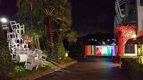 Sugar Marina Resort - ART: The approach to the front of the hotel at night - modern and arty.