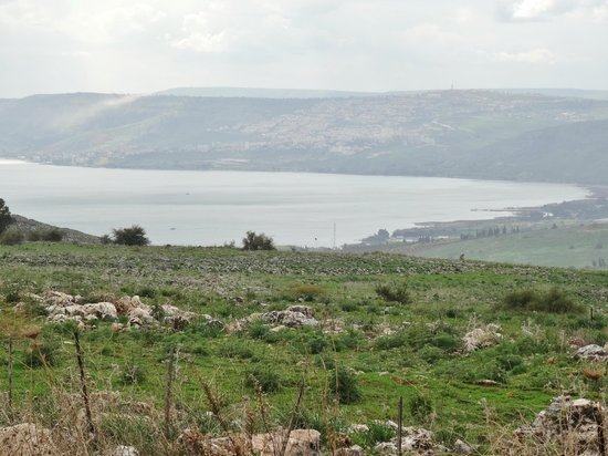 Tel Hazor National Park : View of the Sea of Galilee from the road near Tel Hazor