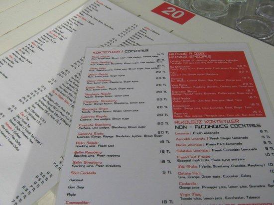 Hotel Su : menu of the beach bar