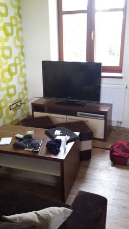 Apartmany Na Seniku : Great TV if you want, wifi was faster than most places we visited in Czech Republic.