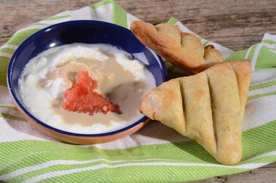 Dalal: Fatayer- spinach stuffed dough served with tahina and yogurt