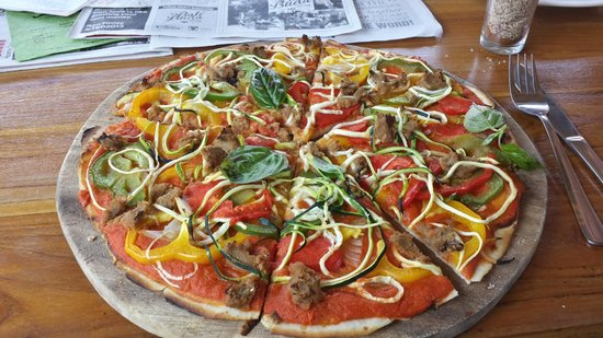 Bali Buda: Dairy free vegetarian pizza on a rice flour base.