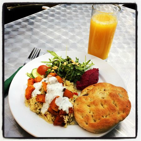 Birnam Arts and Conference Centre: Warm couscous & roast butternut squash salad, beetroot & walnut humus & homemade focaccia £7.95