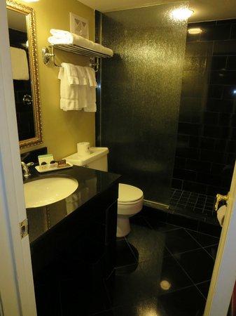 Bourbon Orleans Hotel: Bathroom - black granite, fixed glass panel in shower