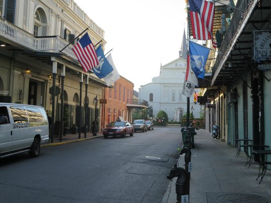Bourbon Orleans Hotel: Hotel on left - that's St. Louis Cathedral at end of street - very close!