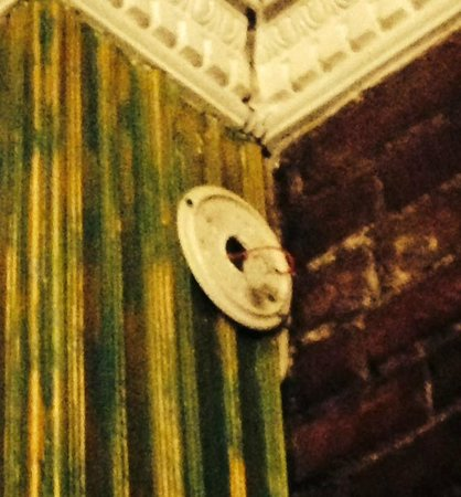 Biscuit Palace Guest House : Missing Smoke Detector! (Mounting plate with dangling wire.)
