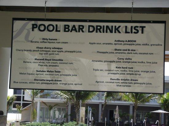 Royalton White Sands Resort: Drink list named after bartenders.