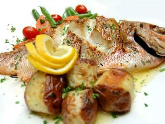 Grilled sea bass picture of aroma mediterranean for Aroma mediterranean cuisine