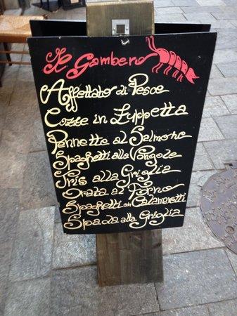 Il Gambero: Che lavagnetta