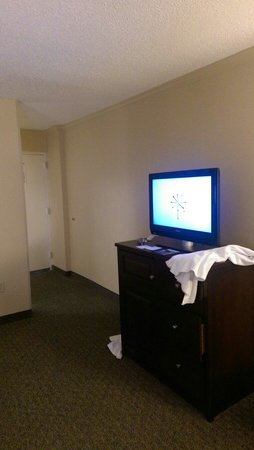 Hyatt Regency Savannah: Hyatt Savannah this is the Tv you get in a $350 a night hotel. My kitchen has a better tv