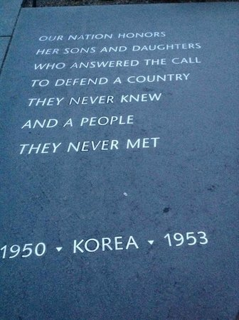 Korean War Veterans Memorial: Placa com nomes vitimas