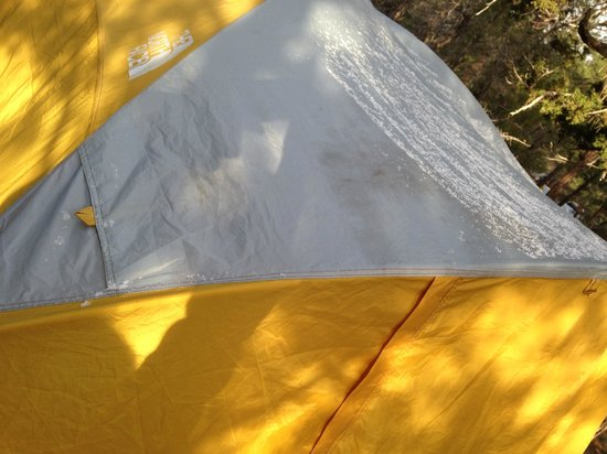 Mather Campground: snow, on the tent