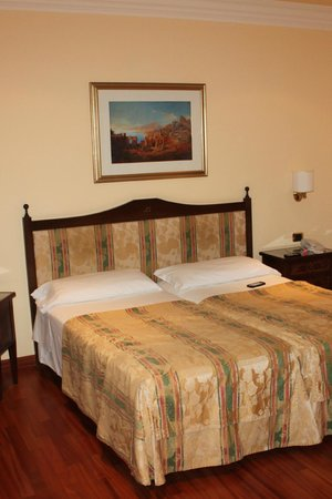 Hotel Villa Diodoro : our bed looked inviting, but is actually two very small mattresses pushed together and hard as w