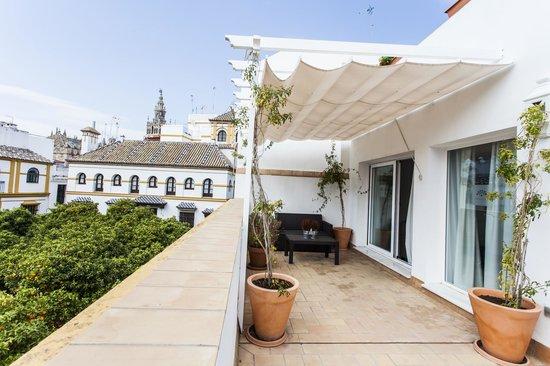Hotel Boutique Elvira Plaza : Terraza privada con vistas a la Giralda, habitación 201