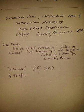 Entre Terre et Mer: Des chinois américain sont venu. Manger à la maison j'ai fait honneur à notre gastronomie frança