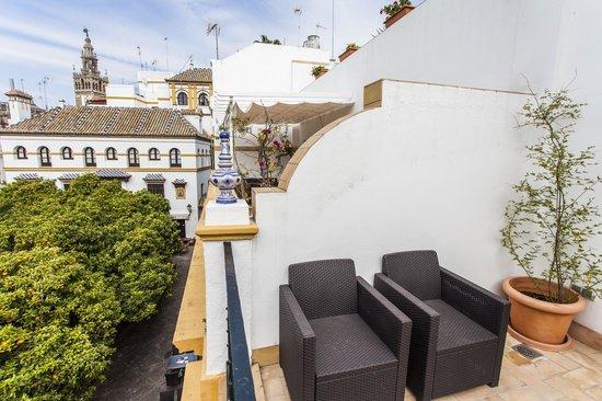 Hotel Boutique Elvira Plaza : Terraza privada con vistas a la Giralda, habitación 202