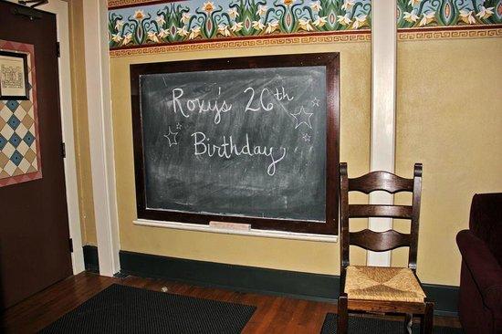 McMenamins Kennedy School: Chalkboard in our room