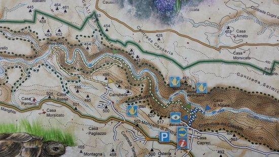 Cavagrande del Cassibile : Karte der Schlucht