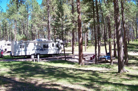 Big Pine Campground: Site 52 - hook-ups on both sides to pull thru either direction.  Water only on one side.