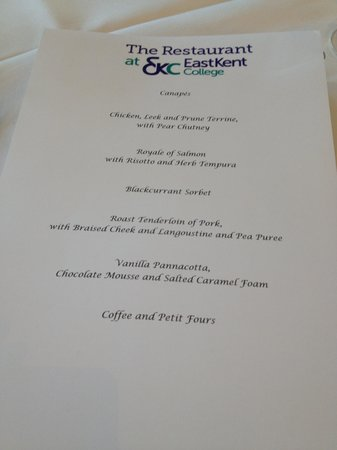 The Restaurant at East Kent College: Menu