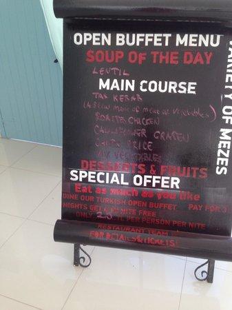Karbel Hotel: Dinner menu