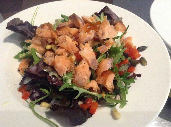 Upstairs Downstairs Cafe: Connemara Smokehouse Honey Roast Smoked Salmon Salad