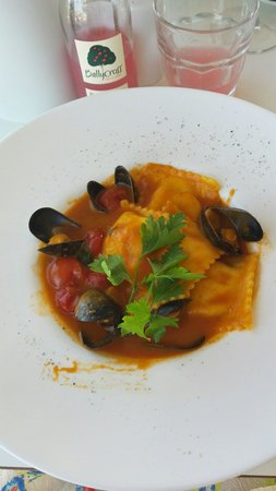 Brooklyn Restaurant: Crab and lobster ravioli with a tomato and mussels sauce. Perfect balance of flavours!