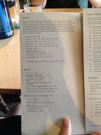 Magdalena's Creperie: Coffee and drinks menu