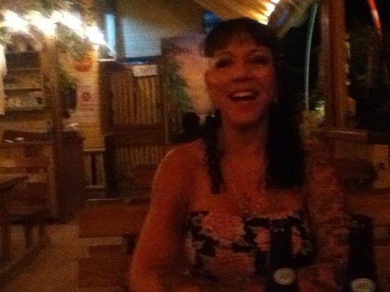 Bambooze: Debra, A happy camper at dinner.