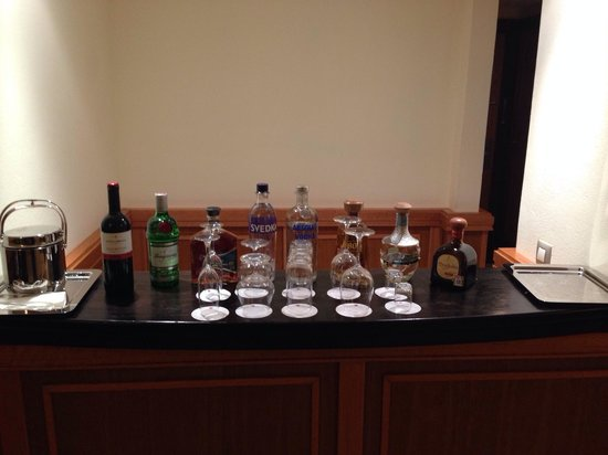 Excellence Playa Mujeres: In room bar.. Added my bottles from previous room :)