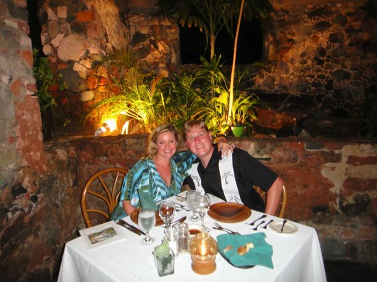 The Sugar Mill Restaurant : Dinner with the original copper cauldron behind us.