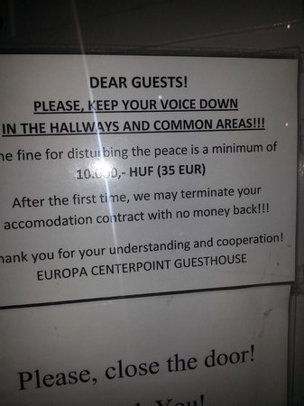 Europa Centerpoint Guesthouse: warning sign