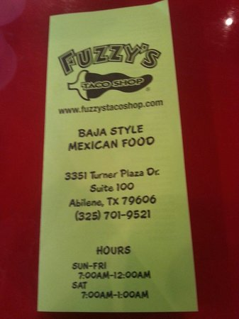 photograph regarding Fuzzy's Tacos Printable Menu known as Menu could possibly 2014 - Envision of Fuzzys Taco Retail outlet - Abilene