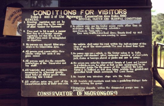 Ngorongoro Wildlife Lodge : Verhaltensregeln