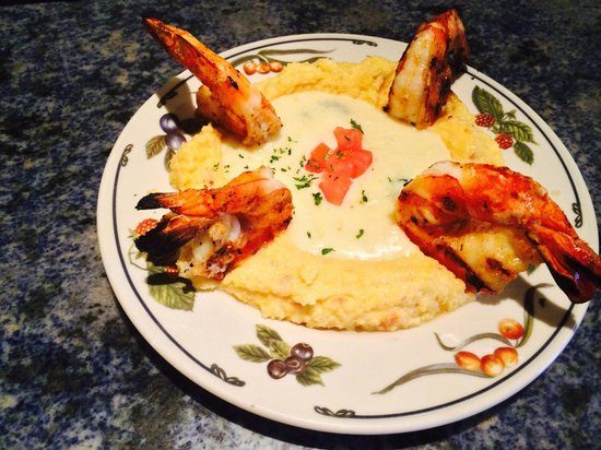 Prosecco Trattoria: Grilled tiger shrimp, on soft basil polenta, with Parmesan sauce