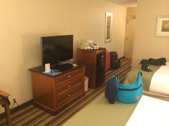 Holiday Inn Buena Park Hotel & Conference  Center: TV and fridge in front of bed