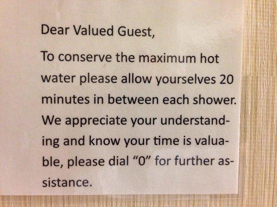 Residence Inn Ontario Airport: Sign in bathroom