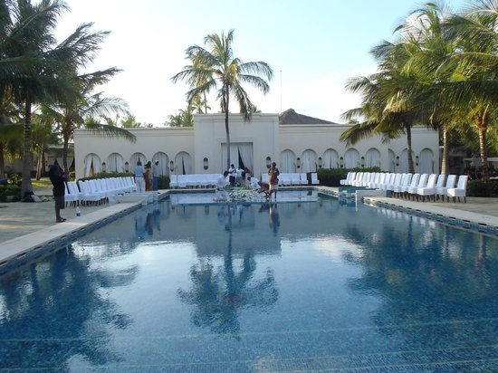 Baraza Resort & Spa: Main pool - set up for wedding