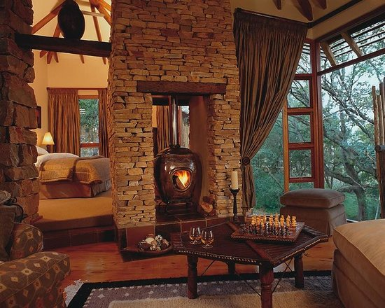 Tsala Treetop Lodge Suite Fireplace