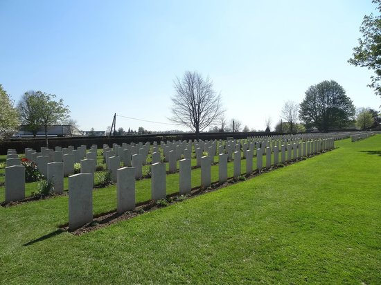 British War Cemetery: Huge German section - not marble headstones