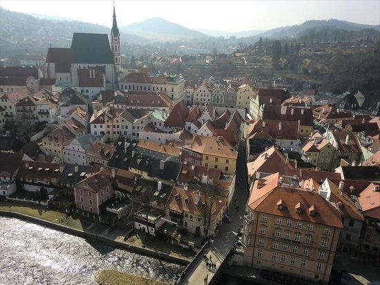 Historic Center of Cesky Krumlov : 城の塔からの箱庭のような眺め1