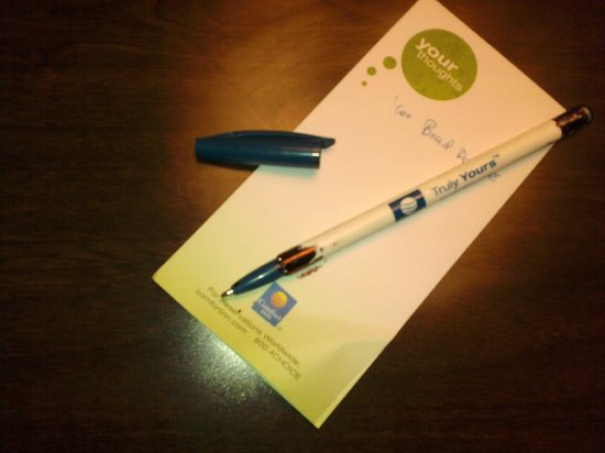 Quality Inn & Suites at Tropicana Field: complementary pen with ink coming out