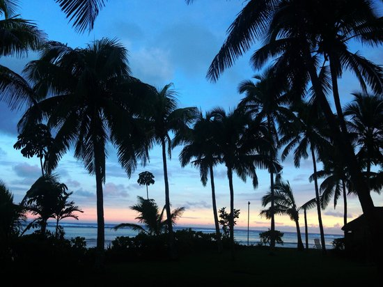 Outrigger Fiji Beach Resort: View from our room as the sun went down