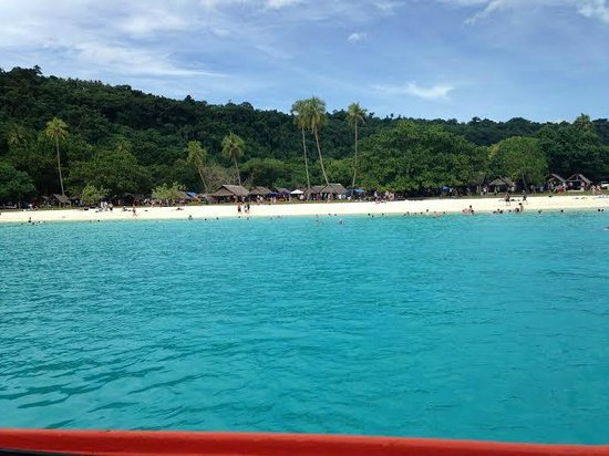 Champagne Beach: View from cruise ship tender
