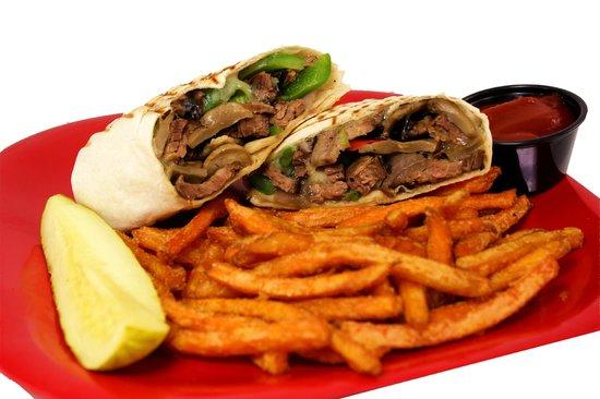 Crazy 8's : Steak Wrap with Sweet Potato Fries
