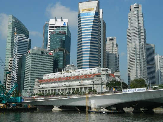 The Fullerton Hotel Singapore: View from river