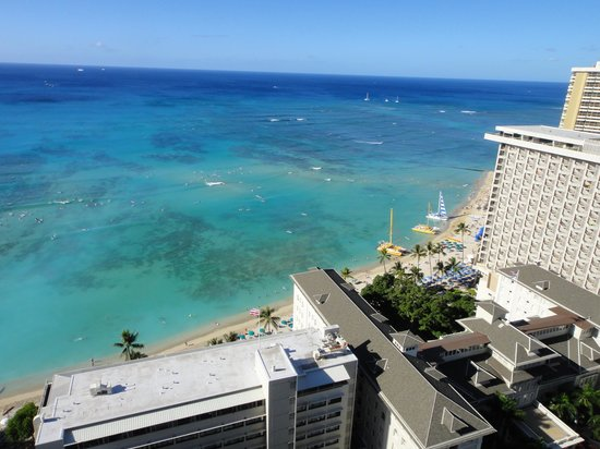 Hyatt Regency Waikiki Resort & Spa: 客室からのビーチです。